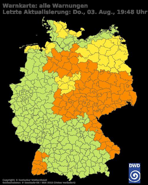 Aktuelle Wetterwarnungen für Vorpommern-Greifswald - Binnenland Süd